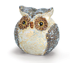 BROWN AND WHITE GLASS LIGHT UP LARGE OWL