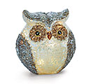 SMALL BROWN AND WHITE LIGHT UP GLASS OWL