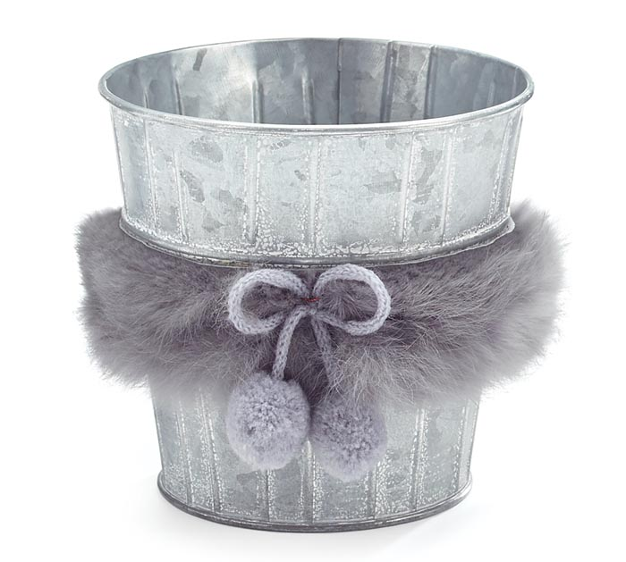 "4"" WHITEWASHED POT COVER WITH FAUX FUR"