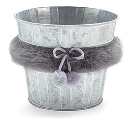 "6"" WHITEWASH TIN POT COVER WITH FAUX FUR"
