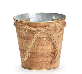 "4"" CORK POT COVER WITH TWINE BOW"