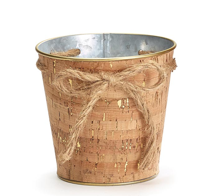 """4"""" CORK POT COVER WITH TWINE BOW"""