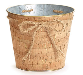 """6"""" CORK POT COVER WITH TWINE BOW"""
