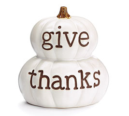IVORY PUMPKIN WITH GIVE THANKS IN BROWN