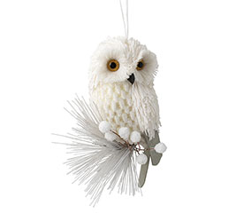 WHITE OWL ORNAMENT WITH YELLOW EYES