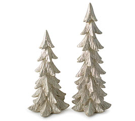 GOLD RESIN CHRISTMAS TREES WITH GLITTER