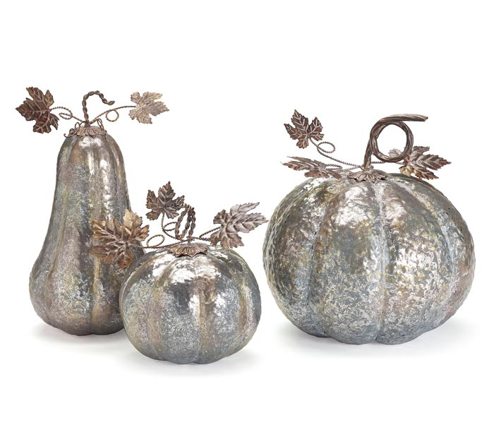 GALVANIZED PUMPKINS GOLD ACCENTS