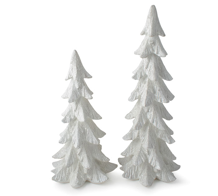 WHITE RESIN CHRISTMAS TREES WITH GLITTER