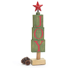 WOODEN BLOCK JOY TREE WITH RED STAR