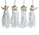 WHITE RESIN ANGEL ORNAMENTS WITH RIBBON