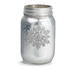 SILVER GLASS VASE WITH SNOWFLAKE DANGLE