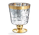 LARGE PEDESTAL VASE METALLIC SILVER/GOLD