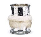 METALLIC SILVER VASE WITH FUR