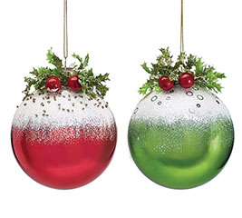 ASSORTED RED  GREEN GLASS ORNAMENTS
