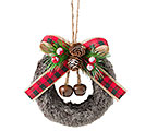 FUR WREATH ORNAMENT WITH BOW  GREENERY