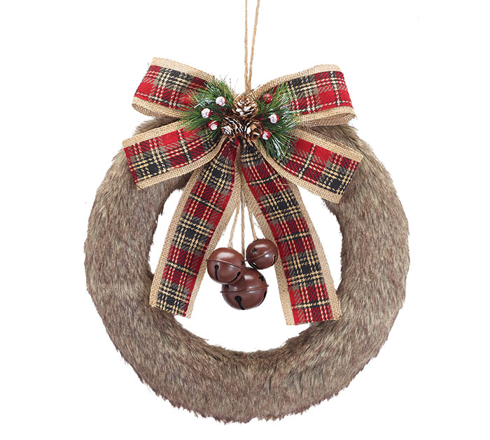 BROWN FUR WREATH WITH PLAID BOW  BELLS