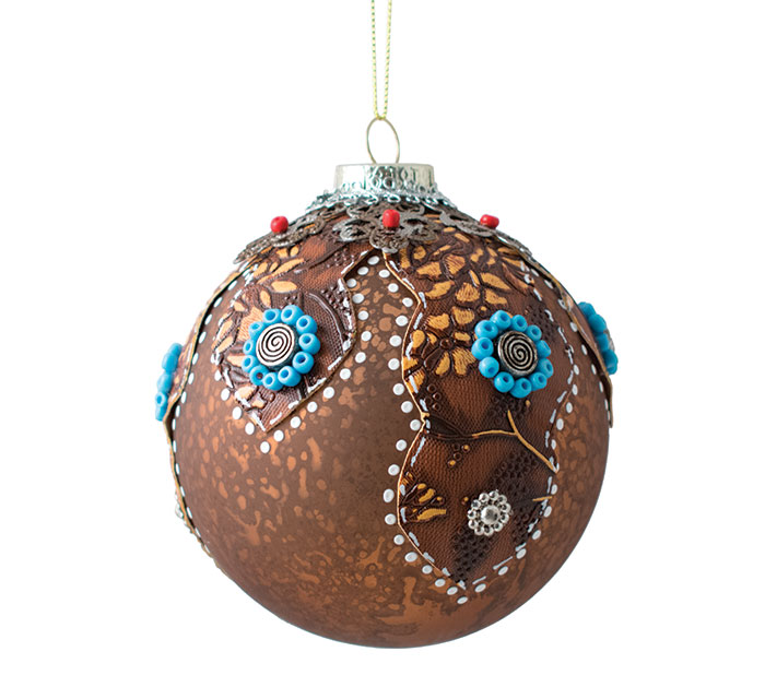 """4"""" BROWN GLASS ORNAMENT WITH BLUE BEADS"""