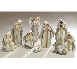 9 PIECE CREAM/SILVER/GOLD NATIVITY SET
