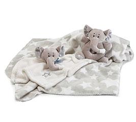 BABY GIFT SET WITH GRAY ELEPHANTS