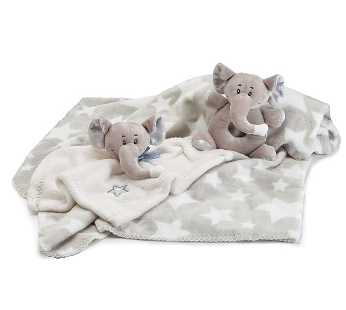 BABY GIFT SET WITH GRAY ELEPHANTS