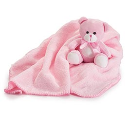 PINK BEAR AND BLANKET IN PVC TUBE