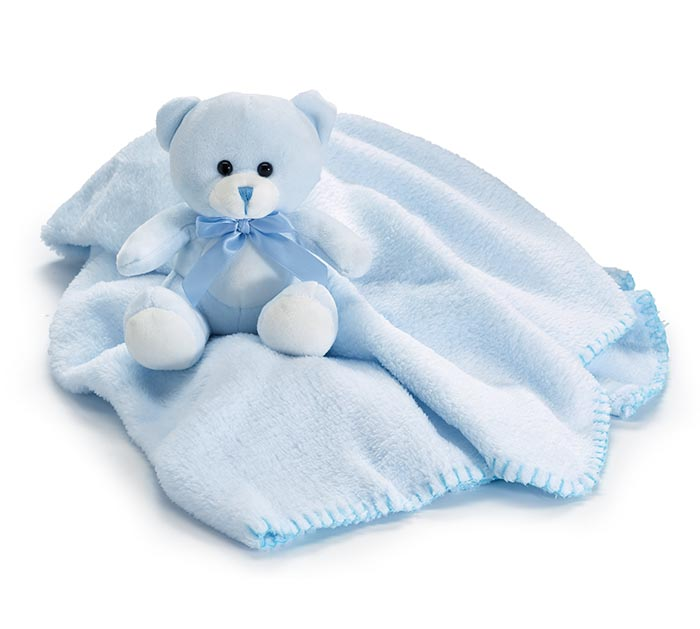 BLUE BEAR AND BLANKET IN PVC TUBE