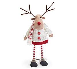 BOBBLE REINDEER WITH KNIT JACKET/SCARF