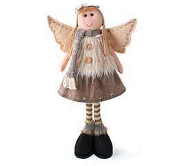STANDING ANGEL FIGURINE WITH FAUX FUR