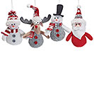 PLUSH CHRISTMAS CHARACTER ORNAMENTS