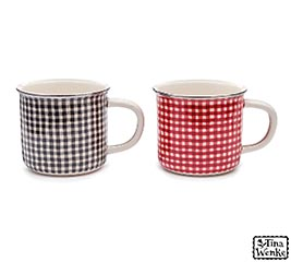 RED/WHITE AND BLACK/WHITE CHECK MUG