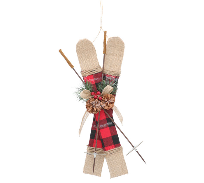 RED AND BLACK PLAID SKI ORNAMENT