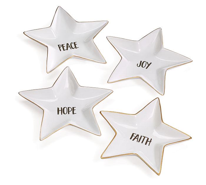 METALIC GOLD/WHITE STAR SHAPED DISH SET