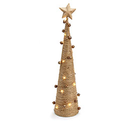 JUTE WRAPPED TREE WITH BELLS AND LIGHTS