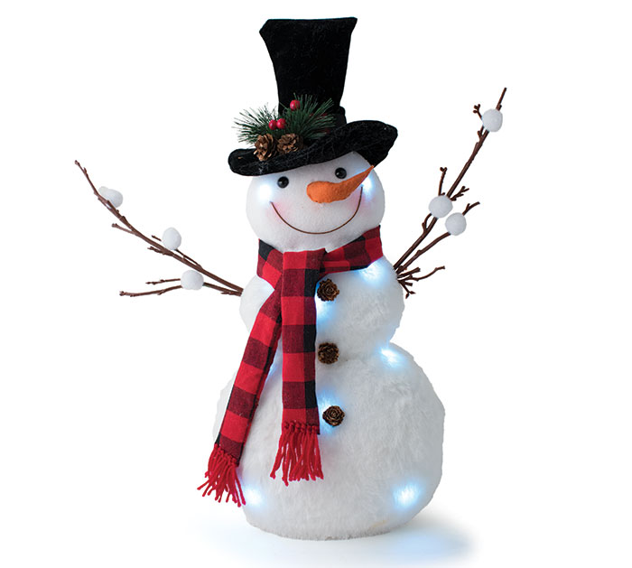 LIGHT UP SNOWMAN WITH VELVET TOP HAT