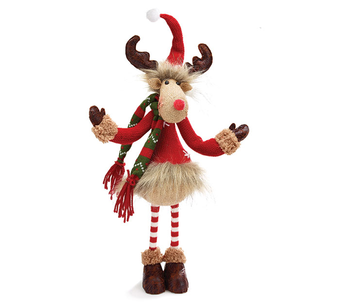 STANDING MOOSE WITH BURLAP FACE/RED COAT