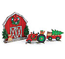 LIGHTED BARN WITH TRACTOR AND WAGON