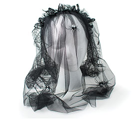 BLACK SPIDER WEB VEIL WITH SPIDER ACCENT