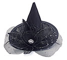 MINI WITCH HAT IN BLACK WITH FLOWER