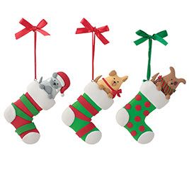 ORNAMENT DOGS IN STOCKINGS ASSORTMENT
