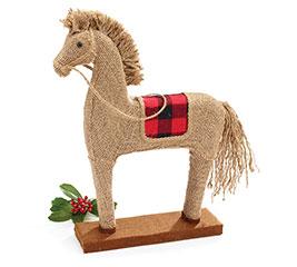 """17"""" BURLAP SHELF SITTER HORSE"""