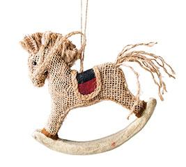 BURLAP ROCKING HORSE IN PLAID ORNAMENT
