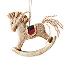 BURLAP ROCKING HORSE IN PLAID ORNAMENT