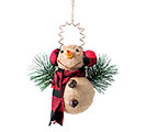 BURLAP SNOWMAN IN RED/BLK PLAID ORNAMENT