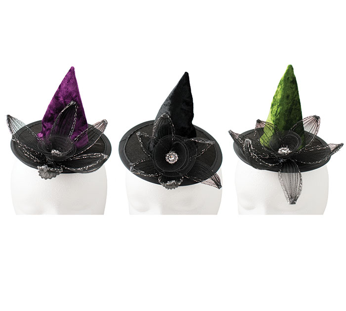 ASTD COLOR WITCH HATS WITH FLOWER  VEIL