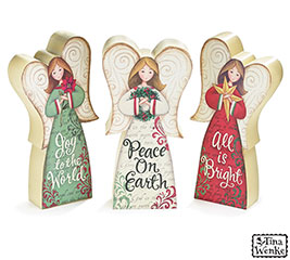 ANGEL FIGURINES WITH CHRISTMAS MESSAGES