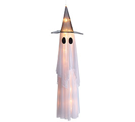 HANGING LIGHT UP GHOST WITH WITCH HAT