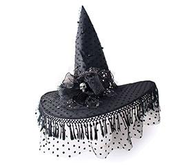 BLACK WITCH HAT/SILVER SKULL ON BRIM