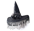 BLACK WITCH HAT/SILVER SKULL ON BRIM
