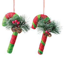 KNIT ORNAMENT RED/GREEN CANDY CANE