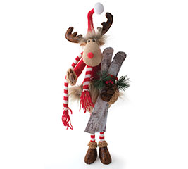 "20"" REINDEER IN KNIT SWEATER WITH SKIS"
